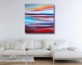 Groot abstract schilderij rood en blauw afdrukken van het