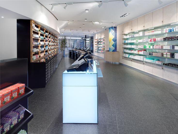 Apotheke am Neumarkt, Offizin, Erweiterung HV-Tisch mit beleuchtetem Glasmodul