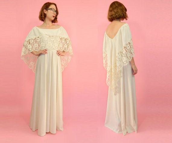 Boho Wedding Dress Vintage 1970s Lace Train by WearitWellvintage, $168.00