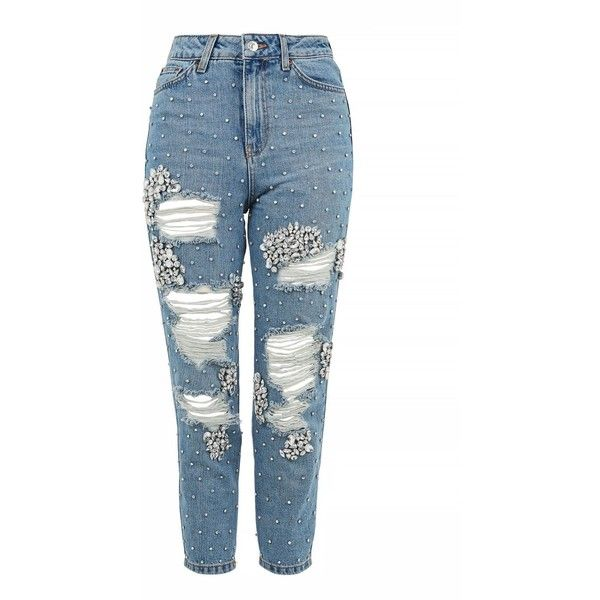 Topshop Moto Limited Edition Gemstone Super Rip Mom Jeans (€140) ❤ liked on Polyvore featuring jeans, pants, bottoms, bleach, white high waisted jeans, high waisted ripped jeans, white jeans, white destroyed jeans and high-waisted jeans