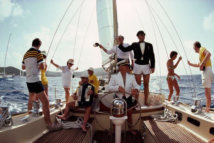 Americans sail on a 71 foot yacht off of Antigua, November 1978.Photograph by Jodi Cobb, National Geographic
