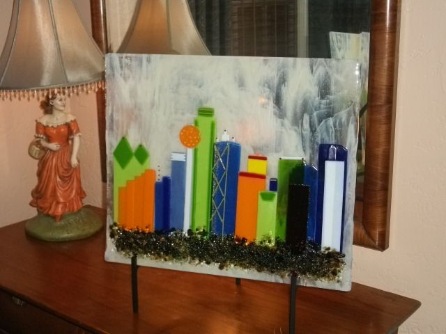 """Color filled Dallas Skyline 18""""x 22:"""" by Barbara Draughon"""