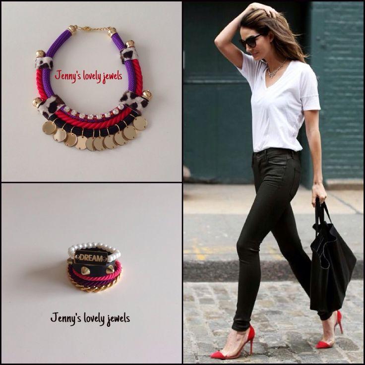 Red purple leopard necklace bracelets shoes