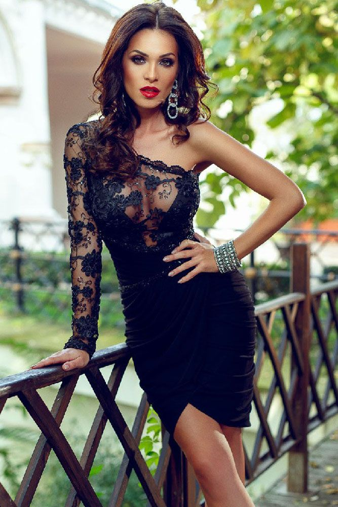 WomensDate Autumn Royal Trendy Black Sexy Dresses Skinny Hip Knee-Length Spandex Lace Bodice One Sleeve Party Dress