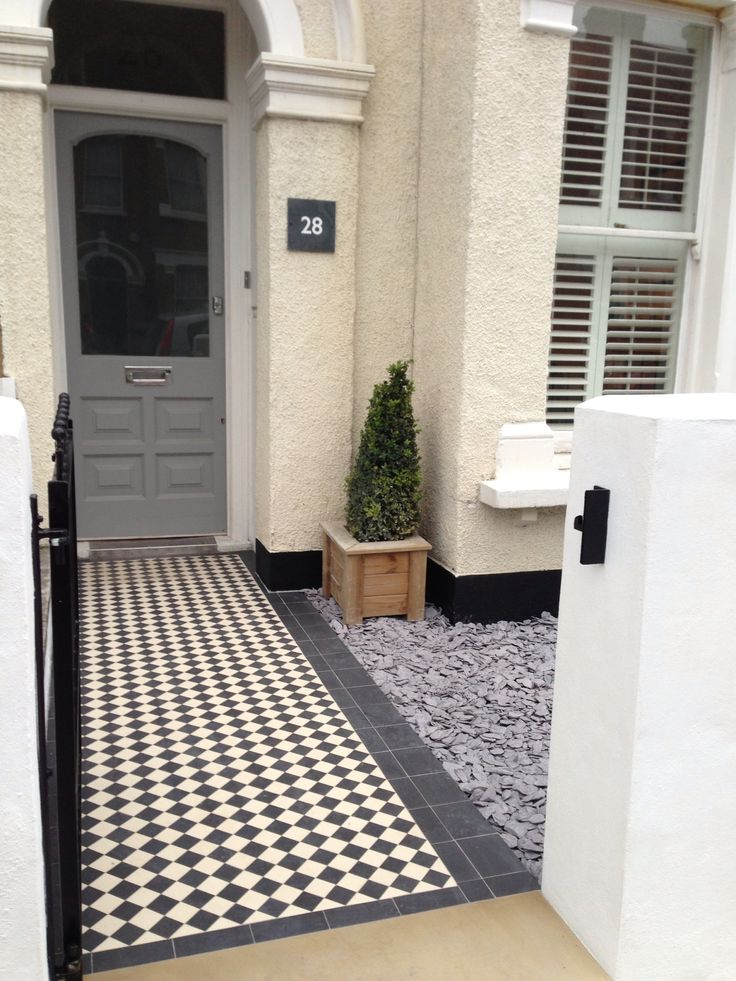 Black and white victorian mosaic tile path, Dulwich, London