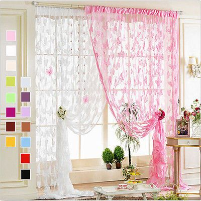 Valances Colors butterfly Tulle Voile Door Window Curtain Drape Panel Sheer