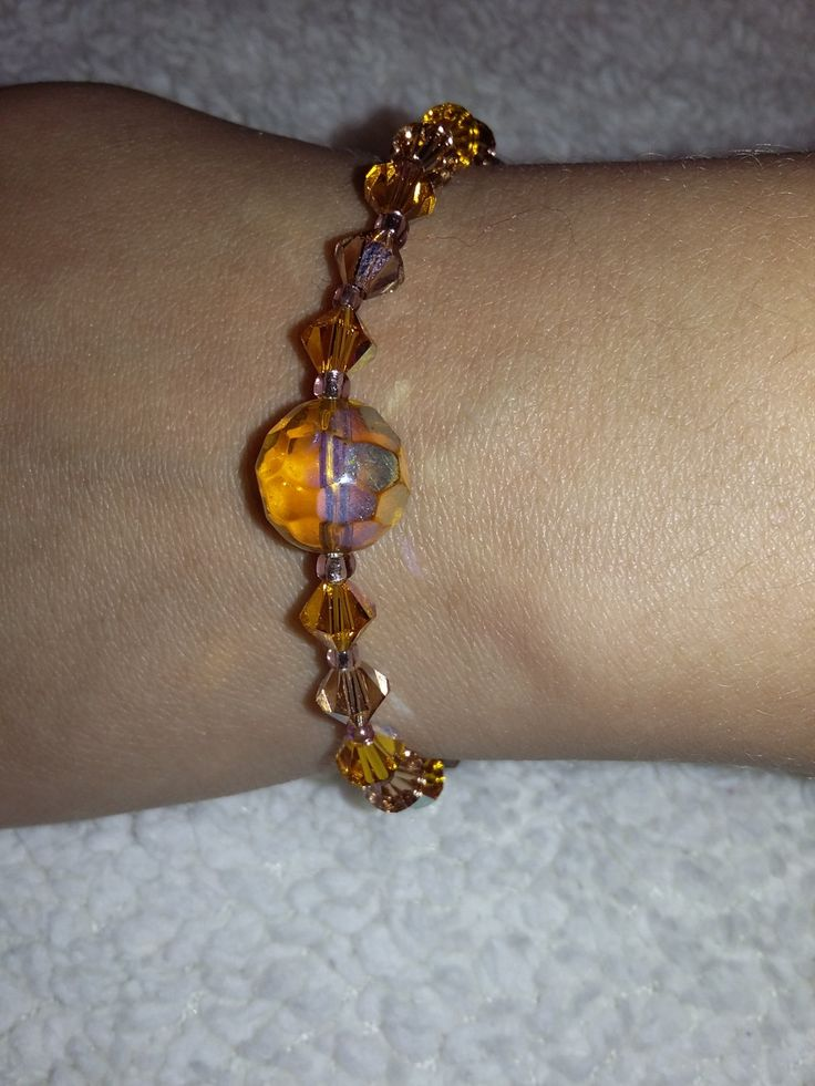 yellow swarovski bracelet by aggelinokosmos on Etsy