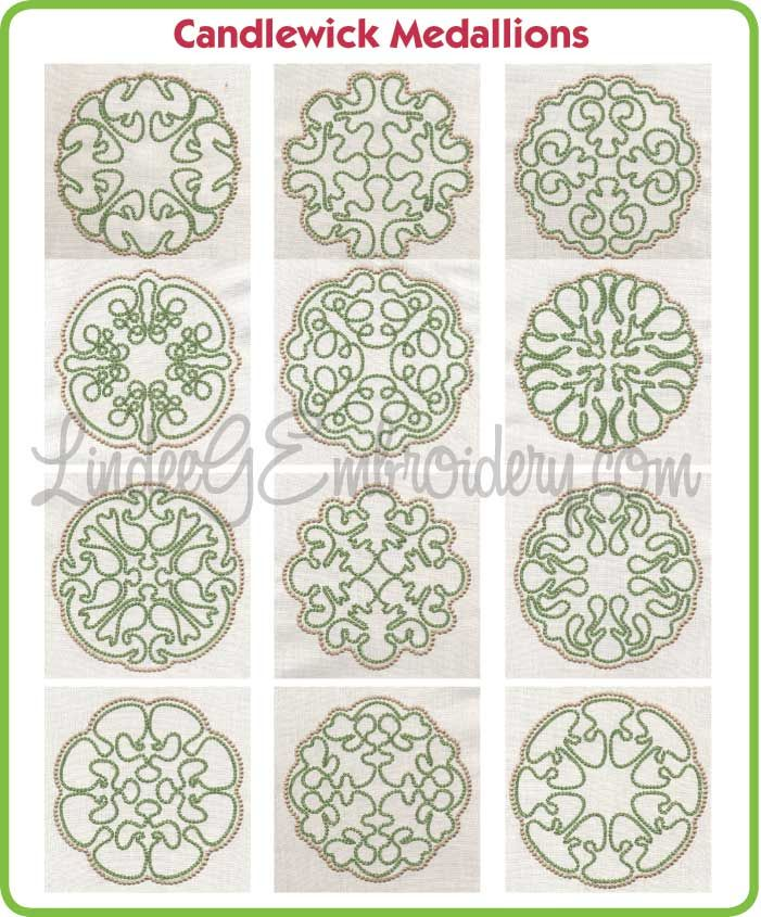 Candlewick Embroidery Free | Free Embroidery Designs: Candlewick Medallion Designs Collection