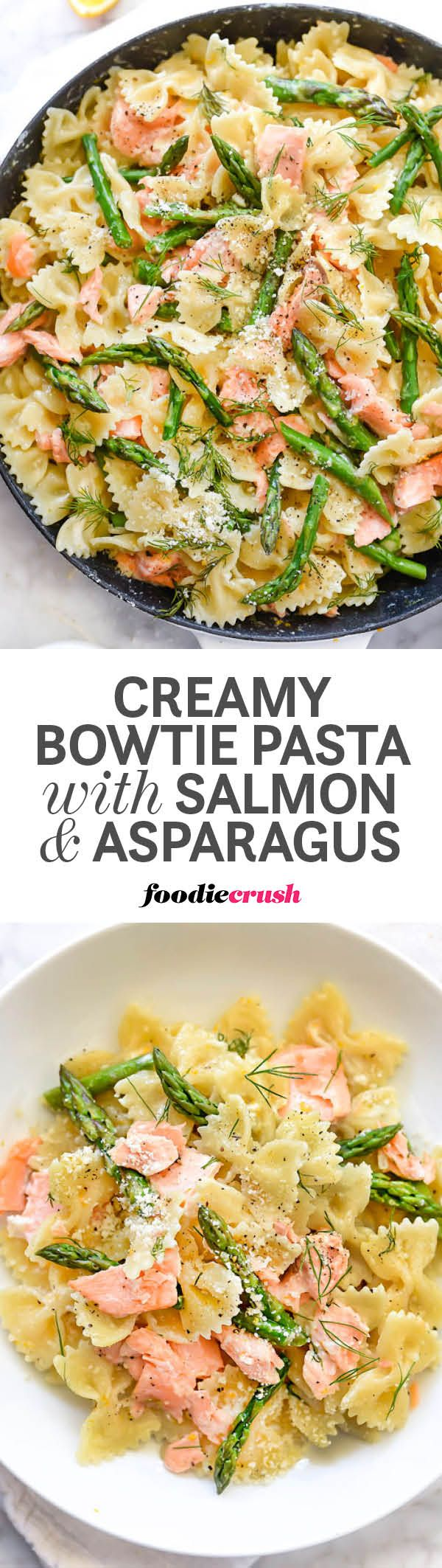 Leftover salmon gets a recipe upgrade with bowtie pasta, fresh asparagus, and dill in this super simple Parmesan cream sauce that makes meal prep a breeze | http://foodiecrush.com #pasta #salmon