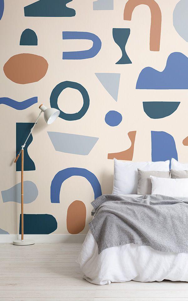 Blue Abstract Shapes Wallpaper Rustic Design Muralswallpaper In 2021 Kids Room Murals Wall Murals Diy Bedroom Murals