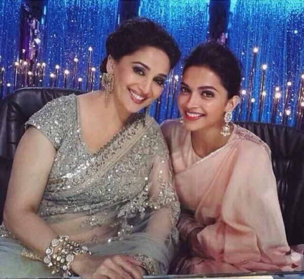 "Dancing diva Madhuri Dixit, Karan Johar and Deepika Padukone shook a leg on the sets of celebrity dance reality show ""Jhalak Dikhhla Jaa"". Deepika came on the show, along with her co-star Arjun Kapoor, to promote her forthcoming movie ""Finding Fanny""."