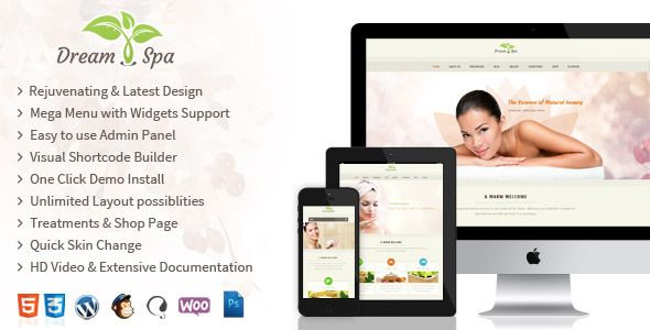 DreamSpa - Responsive Beauty Salon WordPress Theme   http://themeforest.net/item/dreamspa-responsive-beauty-salon-wordpress-theme/8324159?ref=damiamio      Rejuvenating Beauty Salon and Wellness Treatments WordPress theme Spa theme with tons of potential features for Spa Business.Whether you create a fresh website for your salon or need a feel good refreshing style for your existing web presence, Dream Spa will be the best choice. Theme comes with the complete package of templates, widgets…