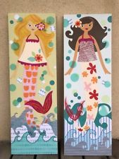 Pottery Barn Kids NEW Mermaid Canvas  Plaque Wall art (set) 12x36 in RARE