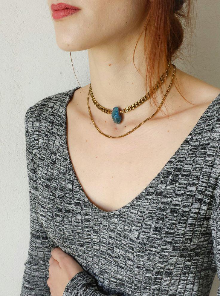Brass Chain Choker, Blue Titanium Quartz Crystal Neklace, Boho Chic Choker, Gift for Her by LycidasJewelry on Etsy
