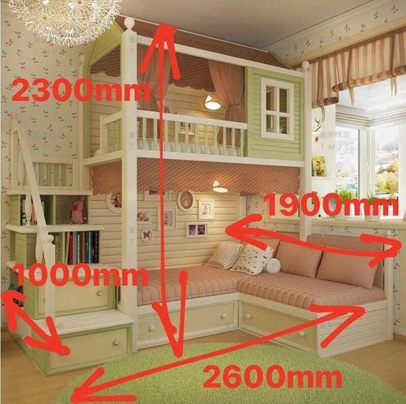 Made To Order Gorgeous Cottage Bunk Bed With Stairs Bed Bunk Cottage Gorgeous Made Ord Etagenbett Mit Treppe Kinderschlafzimmer Kinderzimmereinrichtung