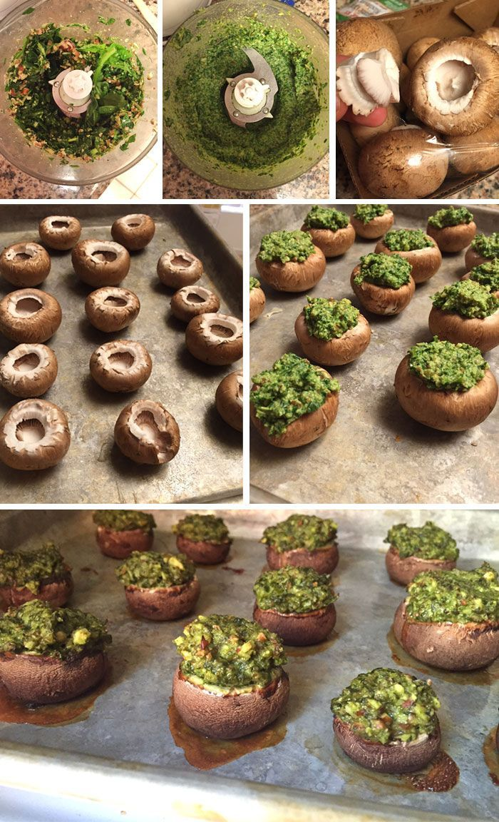 Vegan Pesto Stuffed Mushrooms | Detoxinista
