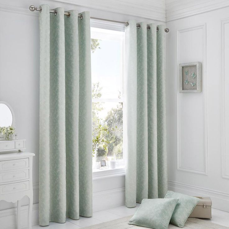 Serene Ebony Pair of Curtains in Duck