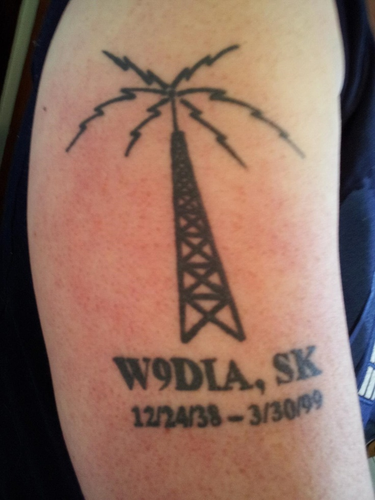 """Tattoo I designed/got to celebrate my dad's life. It's a ham radio tower. W9DIA was his call sign, and """"SK"""" stands for Silent Key, which is appended to the call sign when a ham dies."""