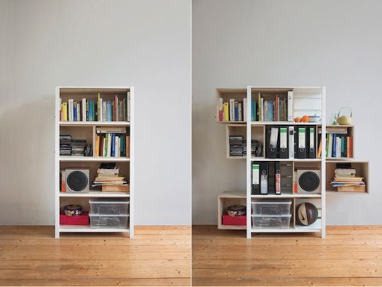 "Need this!     Growing Cabinet by Yi Cong Lu.   This bookcase features very large '""drawers"" that you can pull sideways to expand the space outwards. Then you can fill the space left free by the drawer as well as the space inside the drawer."