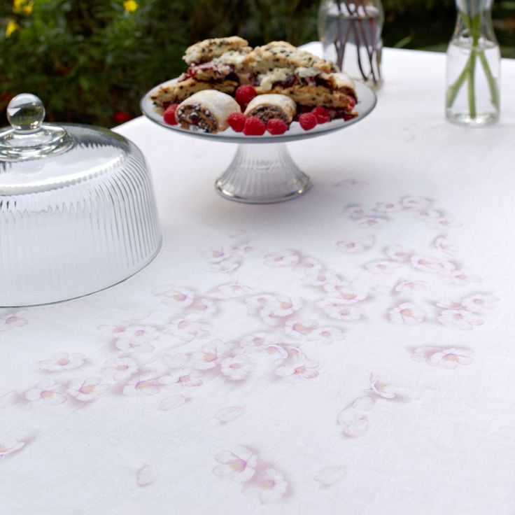 Huddleson Linens - Cherry Blossom Linen Tablecloth - Modern Floral.  Afternoon tea - scones and raspberry jam