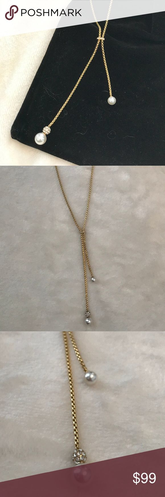 NWT Michael Kors Gold Pearl Drop Necklace Gorgeous long necklace that looks great layered over anything. Simple and elegant. Tiny pave crystal detail and small pearls. Beautiful chain. No trades. Super fast shipping!! Michael Kors Jewelry Necklaces #GoldJewelleryMichaelKors