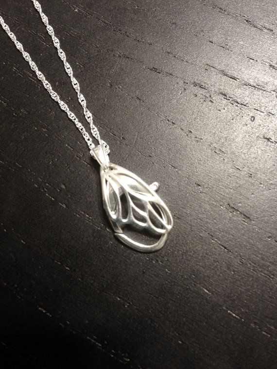 Sterling Silver Butterfly Wing Wedding Ring & Charm Holding Pendant necklace by AloraLocks