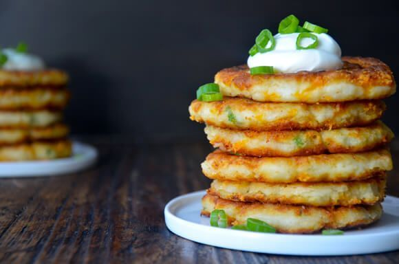 Cheesy Leftover Mashed Potato Pancakes | recipe via justataste.com