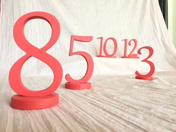 set of coral table numbers as many as you need * Rustic numbers * Wooden numbers * wedding table numbers