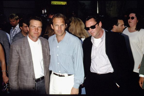 Cast at Premiere of Wyat Earp. Dennis Quaid, Kevin Costner, Michael Madsen.