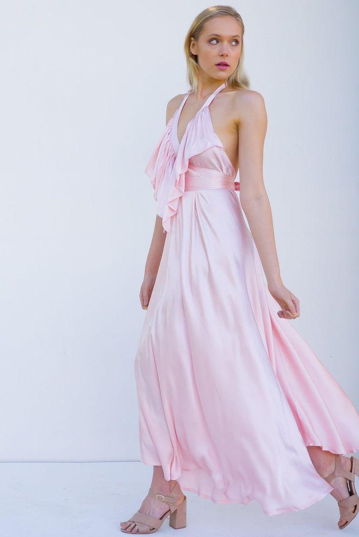 Belle Starr Maxi Dress Satin Rose Petal
