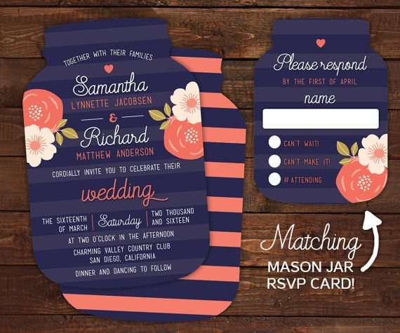 10 Mason Jar Wedding Invitations Mason Jar by LittleBeesGraphics