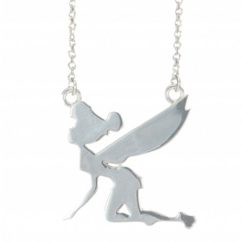 Disney Couture Platinum Plated Tinkerbell Silhouette Necklace at aquaruby.com