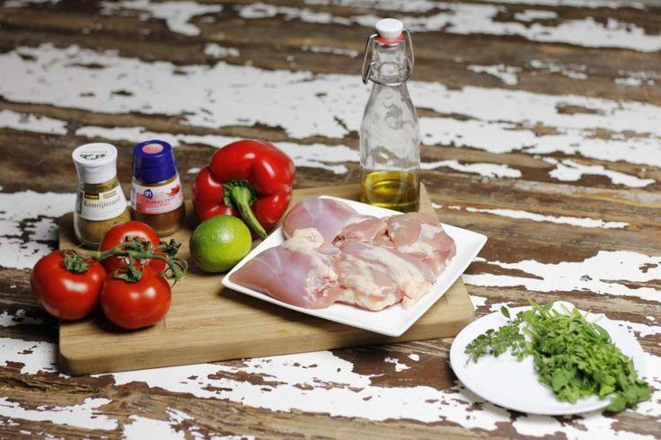 Ingrediënten voor kip fajitas