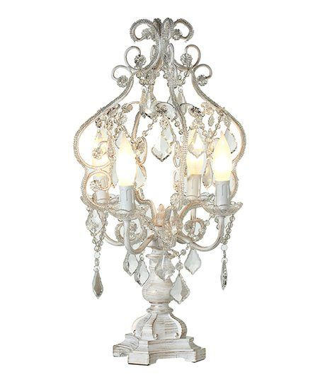White & Gold Brush Chandelier Table Lamp | zulily