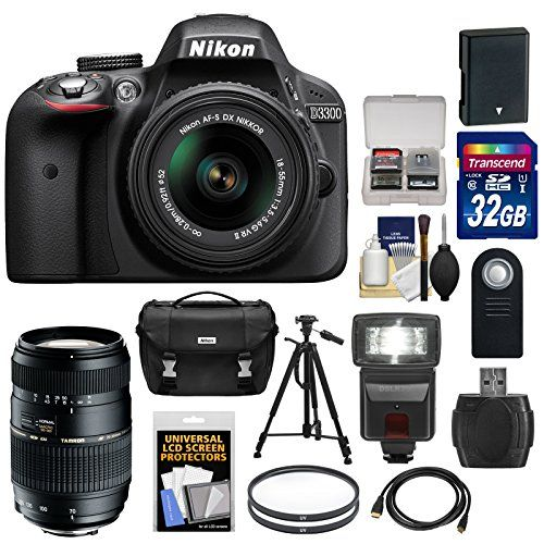 Nikon D3300 Digital SLR Camera Bundle with 18-55mm G VR DX II AF-S Zoom Lens 70-300mm f/4-5.6 Di LD Macro Zoom Lens and Accessories - Black (15 Items)