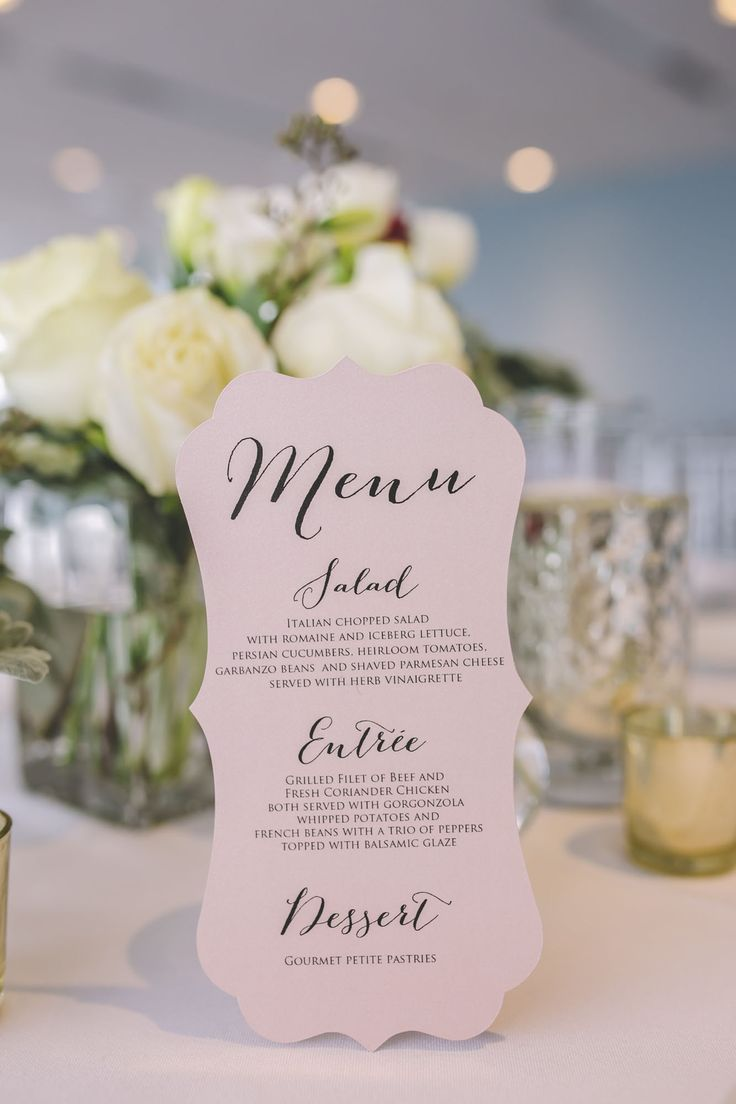 Blush wedding colors are 2016 wedding trend! Incorporate the colors in your menu card to add a pop to your guests table! | Waterview Loft at Port Detroit | Photo: Amanda Dumouchelle Photography