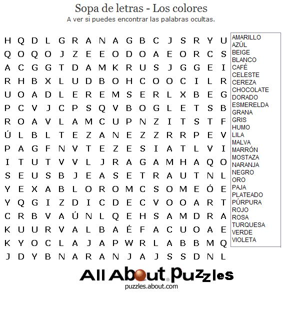 Word Search Puzzle in Spanish - Find the color names hidden in the puzzle. Print.
