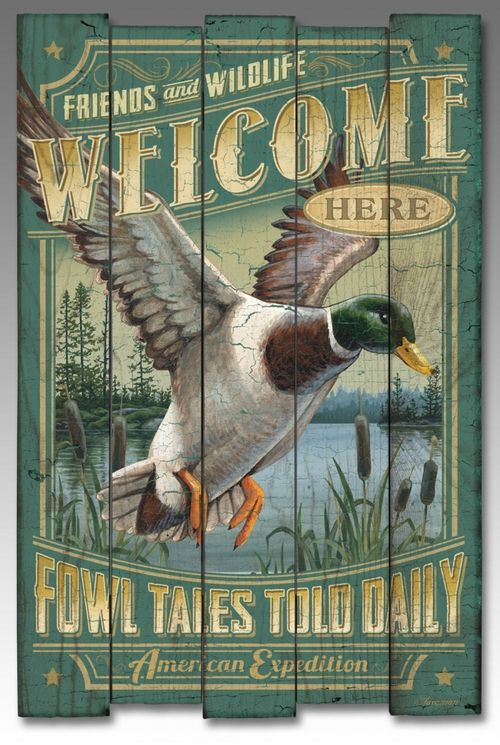 This Wooden Cabin Sign uses a mixture of rustic artwork and words to create a wonderful wall decor item. This sign uses natural colors to blend with the textured wood to depict a mallard duck and the