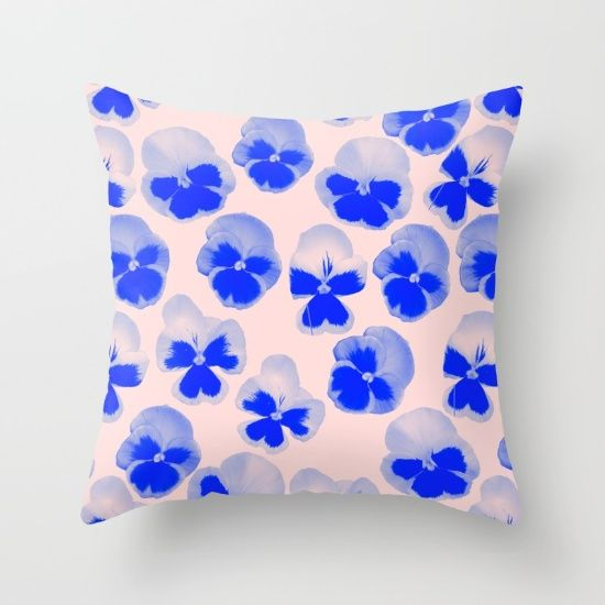 PANSY Throw Pillow by Rhianna Ellington I #society6 #RhiannaEllington #homedecor #blue #pillow
