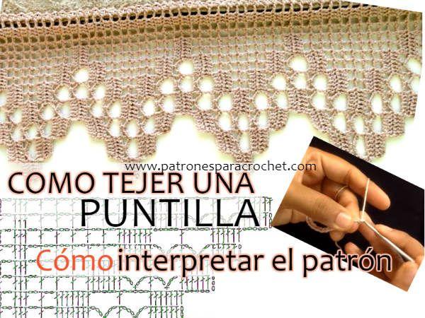 Como tricotar uma borda ou crochê rendas lendo o padrão / Video Tutorial