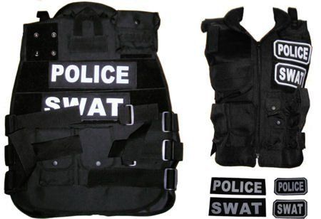 New Paintball / Airsoft Black SWAT / POLICE Tactical Vest Field Gear by Fidragon. $49.00. Well crafted tactical vest. Adjustable for medium to X large male sizes. Cushioned collar. Many pouches front and back for radio, clips, holsters, paintball containers, etc.... Utilizes velcro on flaps of pouches to make this a very versatile deluxe vest. Swat and Police velcro labels for front and back included. Can also be used in paintball tactical environments.