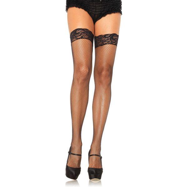 Women's Leg Avenue Stay-Up Lace Thigh-HighsFishnet Thigh Highs/Regular ($6.99) ❤ liked on Polyvore featuring intimates, hosiery, socks, black, socks & hosiery, lace socks, lace hosiery, thigh high socks, leg avenue and leg avenue hosiery