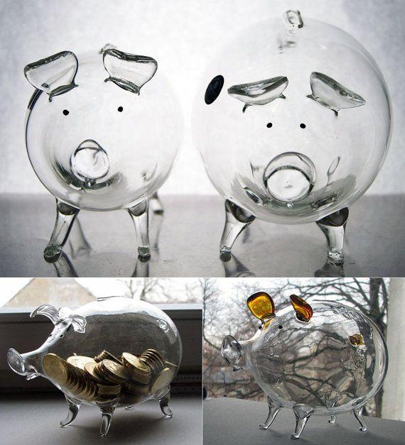 Handmade Glass Piggy Bank