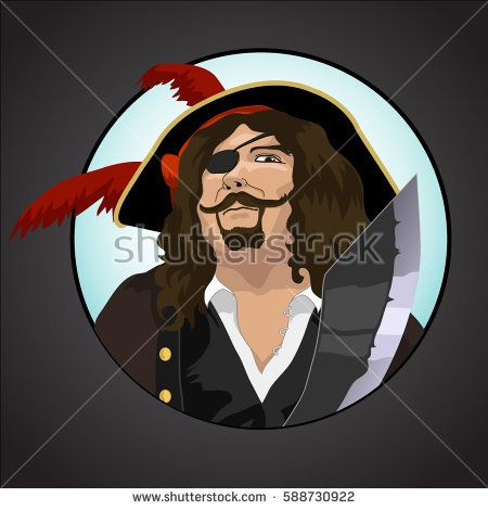 long-haired pirate with a one-eyed pirate hat and sword