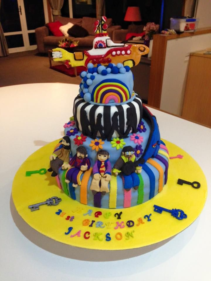 """Jackson's """"Beatles"""" 70's themed birthday 21st cake. This one took a while..."""
