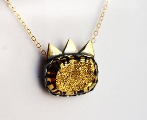Rachel Pfeffer: Where the Wild Jewels Are- Fierce Drusy Necklace: Drusy Pendant, Wild Jewels, Drusy Necklace, Wild Kitty, Wild Cats, Handmade Drusy, Fierce Drusy