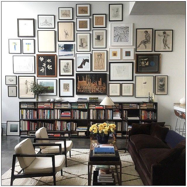 beni ourain, brown velvet, gallery wall