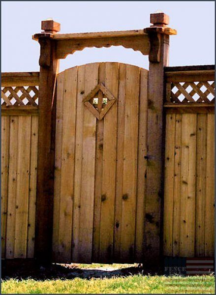 Board On Board Decorative Arched Gate Wood Window Fence