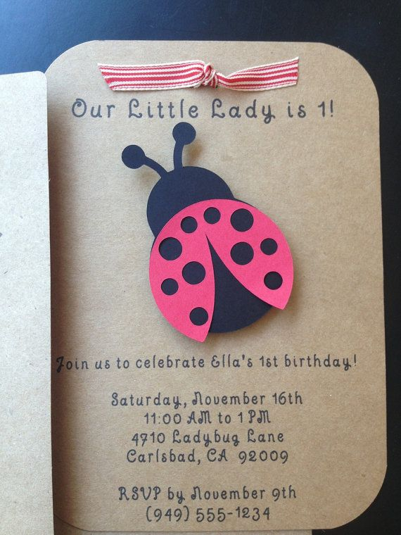 Ladybug Invitations Custom Made for Kid's Birthday Party or Baby Shower on Kraft Paper, Set of 8 Invites on Etsy, $14.00