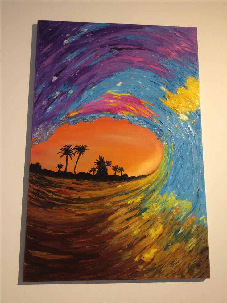Título: WAVE Técnica: Espátula en Oleo Dimensiones: 90cm x 60 cm Características:  Pintura original de ETW, pintada con espátula y óleo sobre lienzo, plasmando una  interpretación abstracta paisajística de la obra fotográfica de una ola de surf.